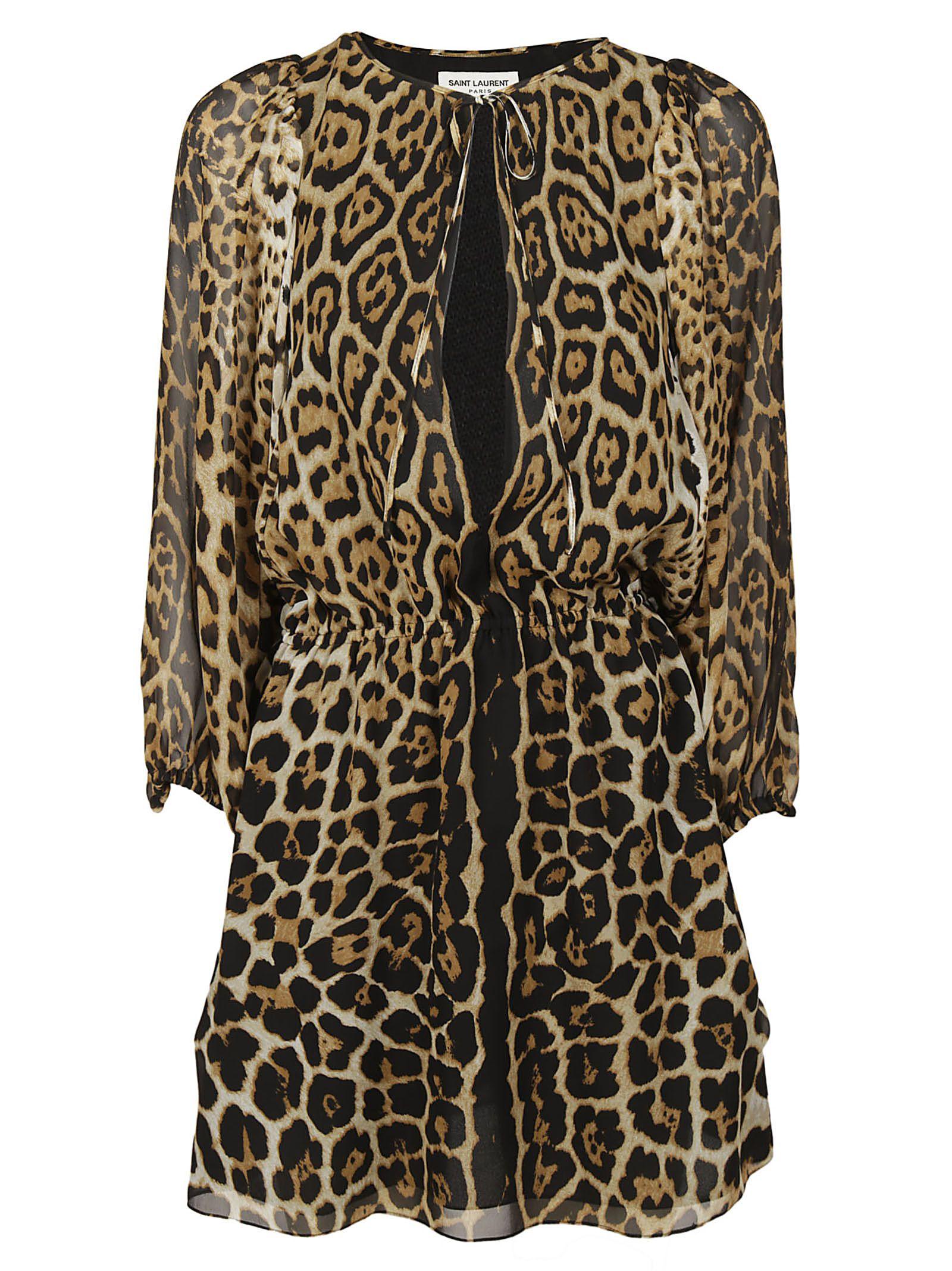 Saint Laurent Leopard Print Short Dress