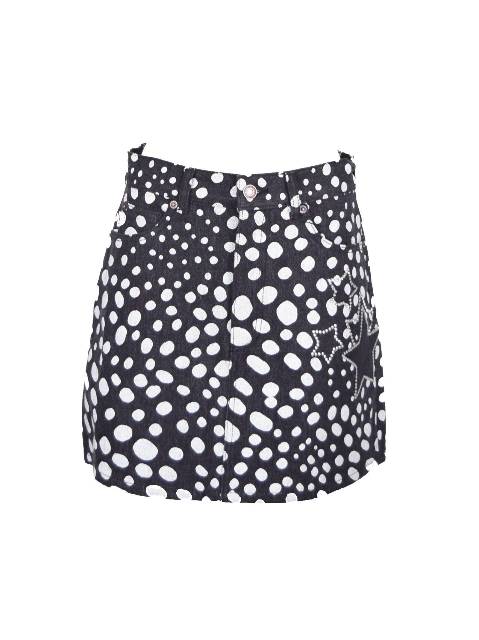 Marc Jacobs Embellished Spot Denim Mini Skirt