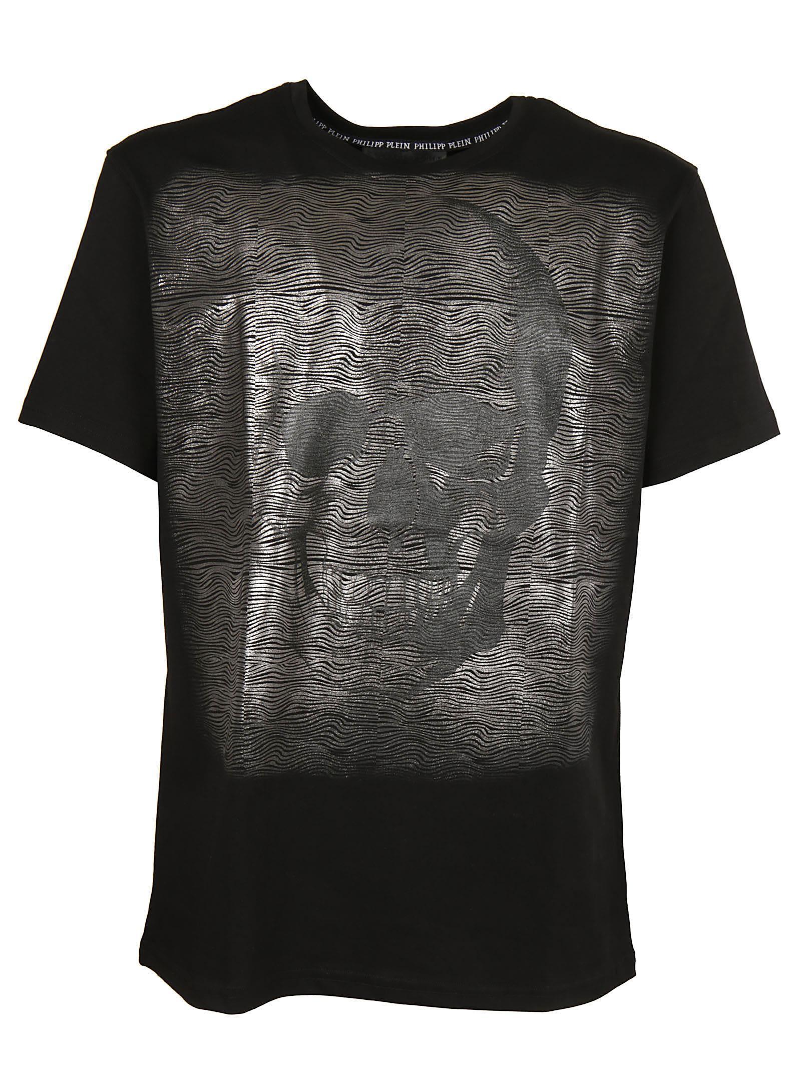 Philipp Plein Metallic Skull Print T-shirt