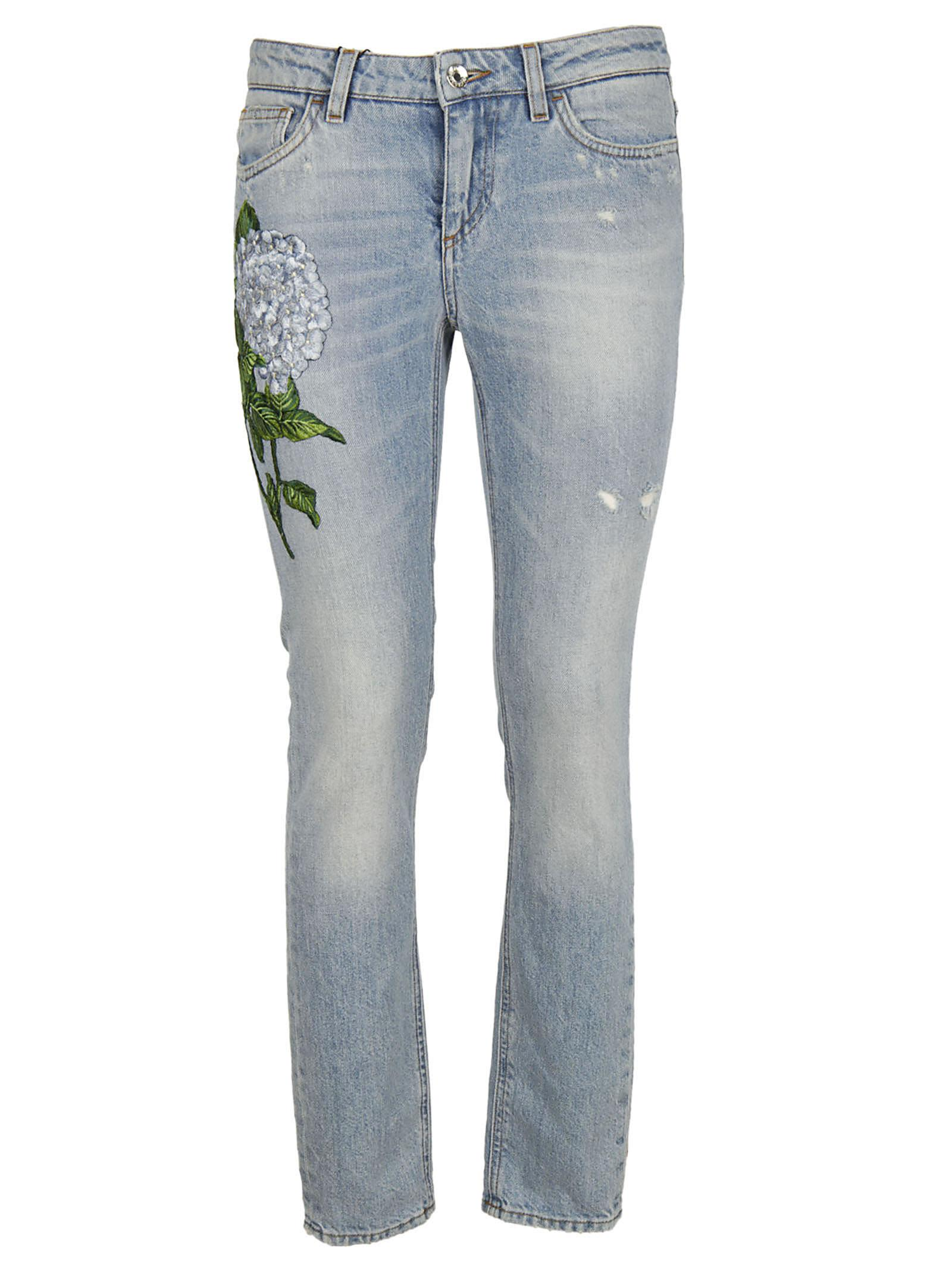 Dolce & Gabbana Floral Patch Straight-leg Jeans