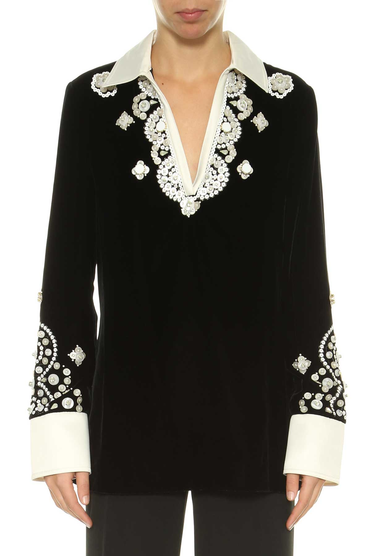 Tory Burch Tory Burch Embroidered Velvet Top