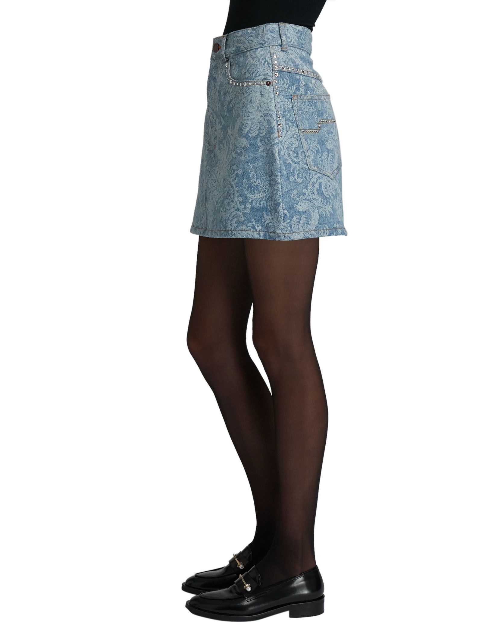 Marc Jacobs Blue Jeans Printed Mini Skirt With Swaroski