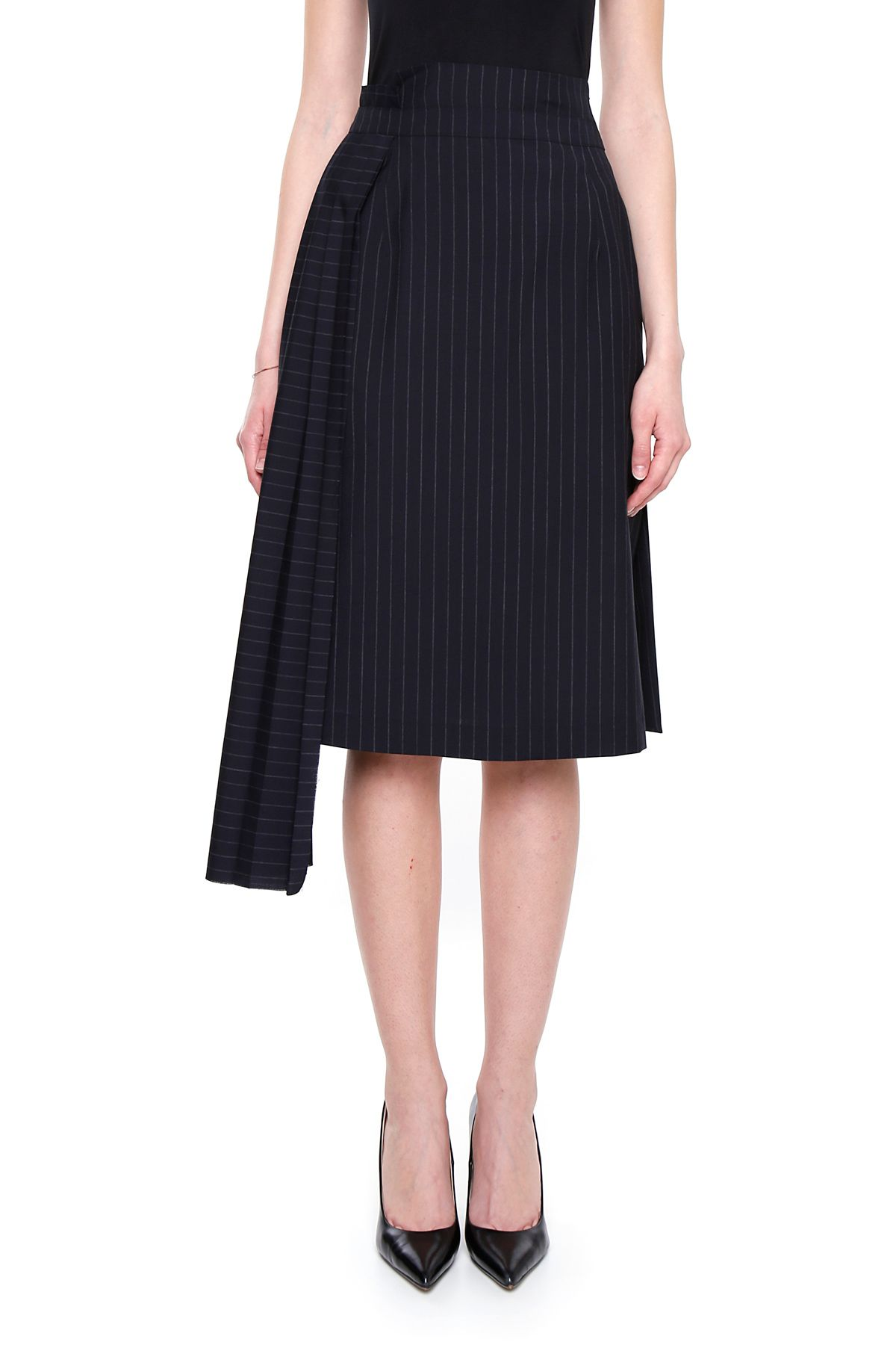 Pinstriped Skirt With Pleated Panel