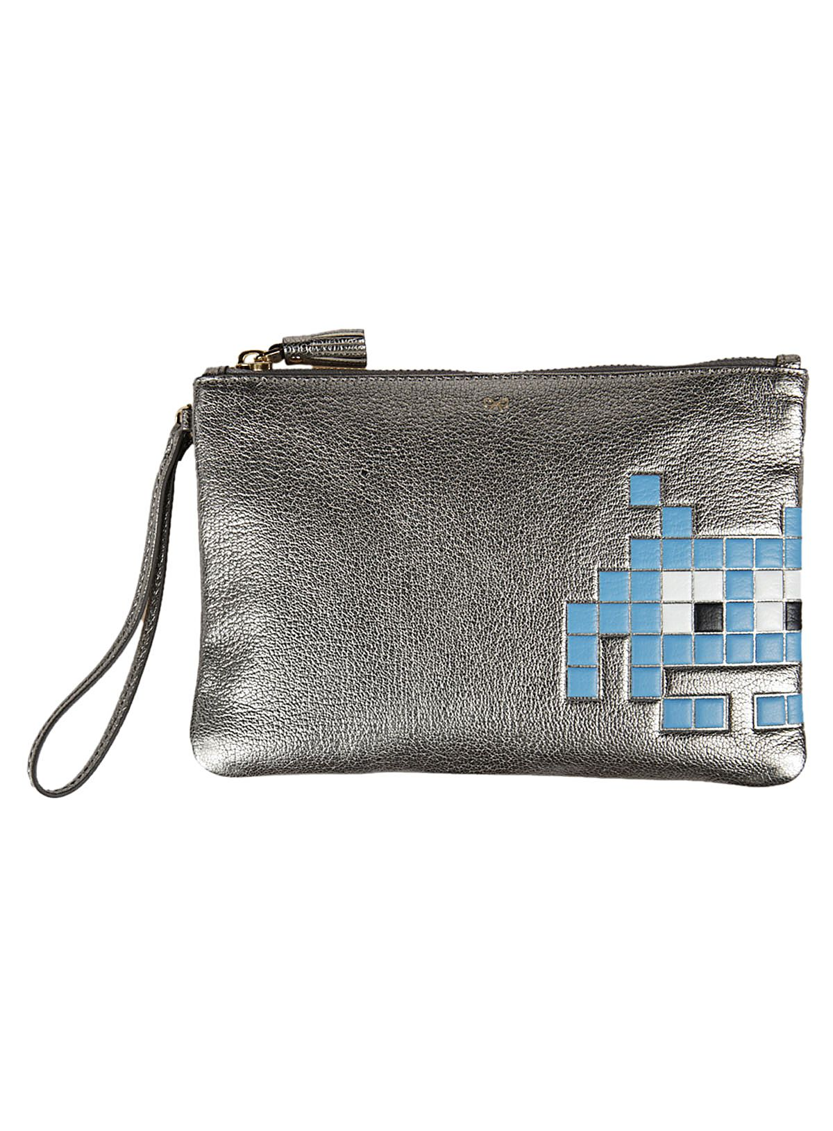 Anya Hindmarch Metallic Silver Space Invaders Pouch