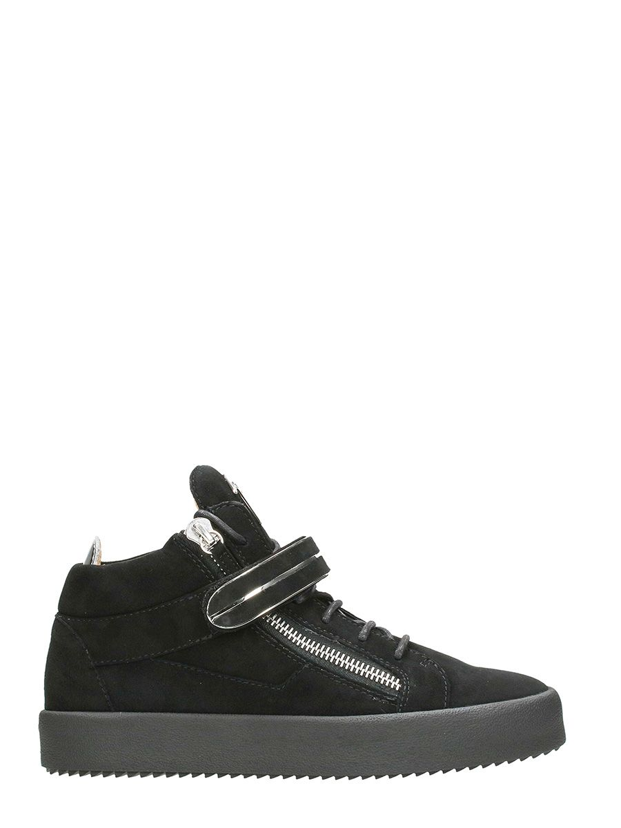 Giuseppe Zanotti Black Suede Leather Mick Hi-top Sneakers