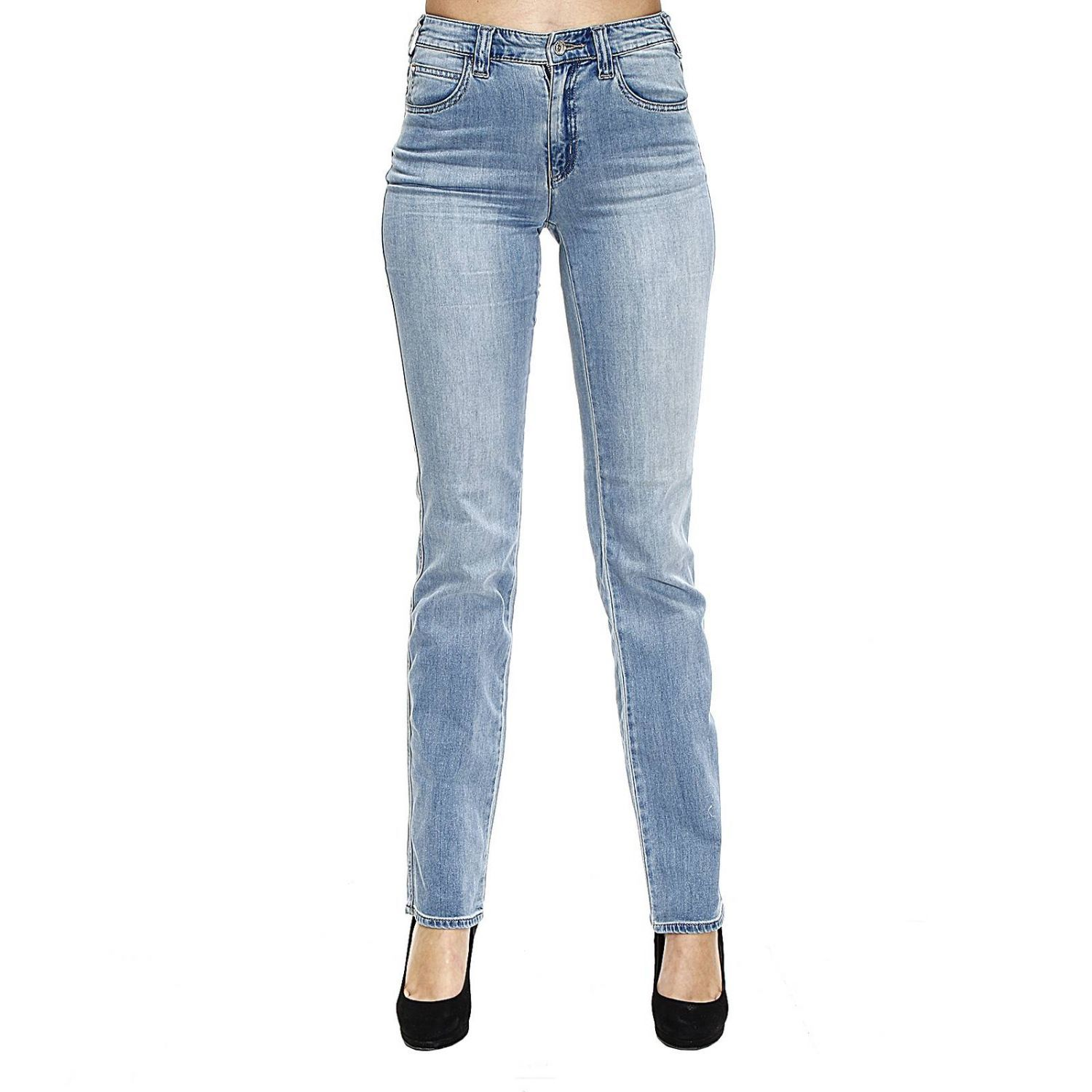 Jeans Jeans Denim Waist High Gamba Dritta Stretch