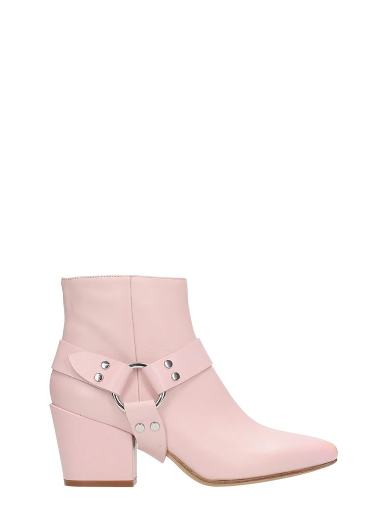 BUTTERO PINK SHINY LEATHER ANKLE BOOT