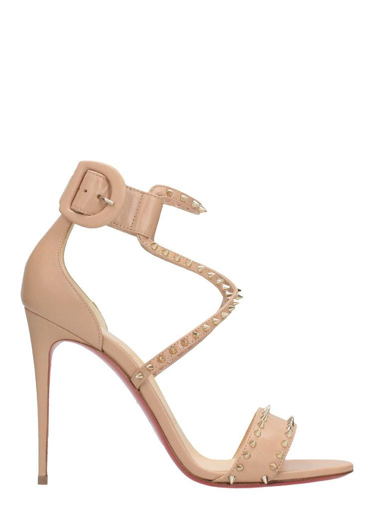 CHRISTIAN LOUBOUTIN Choca Lux Leather Platform Sandals - Nude, Pink Bronze Size 7.5