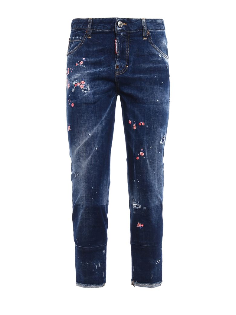 Dsquared cool girl floral embroidered jeans dark wash