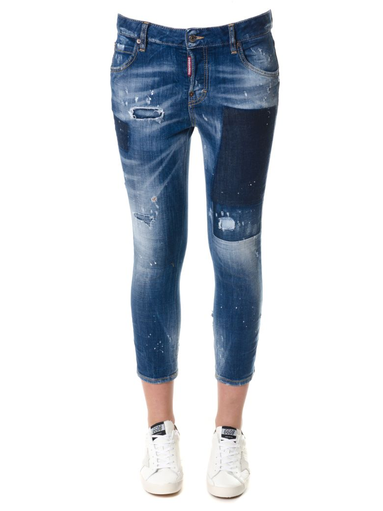 STONE WASH DENIM JEANS WITH PATCH