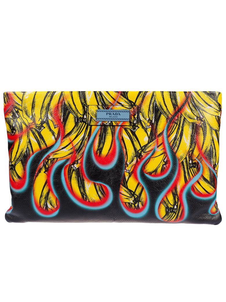 Banana And Flame Print Leather Clutch in Black