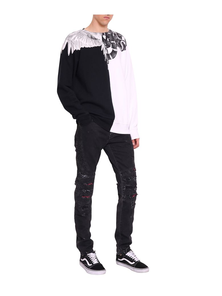 641b4c84831 MARCELO BURLON COUNTY OF MILAN. Marcelo Burlon Men S Black And White Snake  And Wing Crewneck Sweater