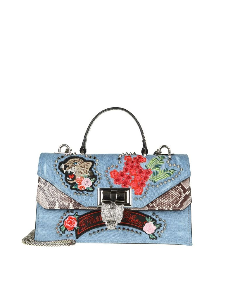 SARA HAND BAG WITH EMBROIDERY AND APPLIED STUDS