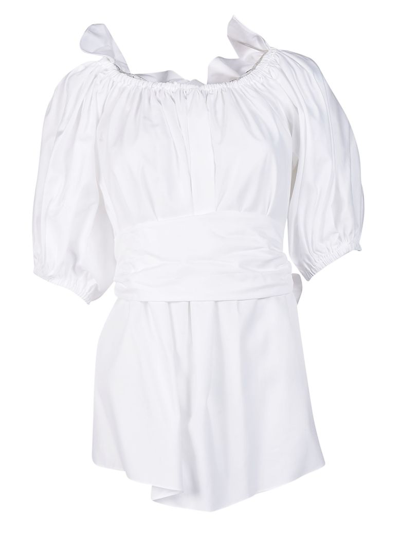Off-the-shoulder Ruffled Cotton-poplin Top - White Stella McCartney Choice Real Sale Online Cheap Online Shop Outlet Geniue Stockist Outlet Visit 9Qxku