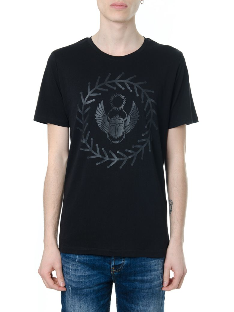 FRANKIE MORELLO FRONT EMBROIDERY BLACK COTTON T-SHIRT