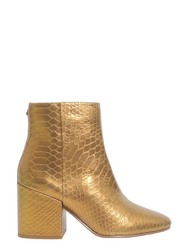 Snake Printed Ankle Boots in Gold