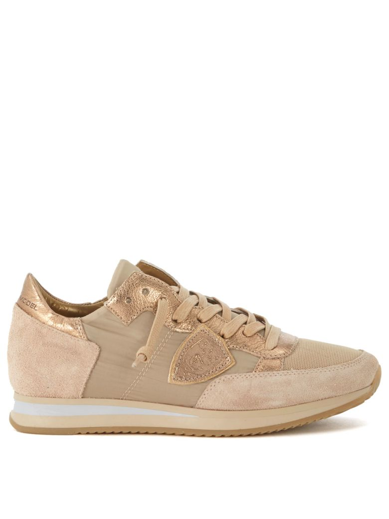 TROPEZ SNEAKER IN BEIGE AND BRONZE SUEDE AND FABRIC.