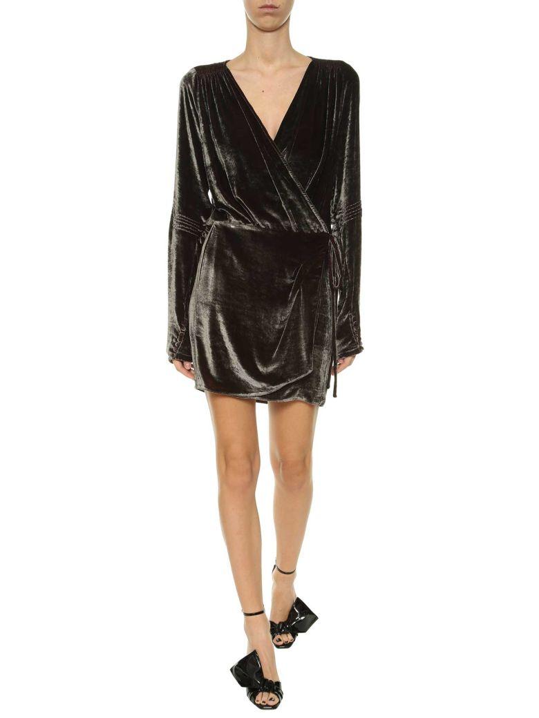 Attico Silk Velvet Wrap Dress In Taupe Modesens
