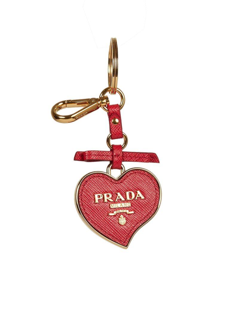 Prada Saffiano Heart Charm, Red (Rosso)