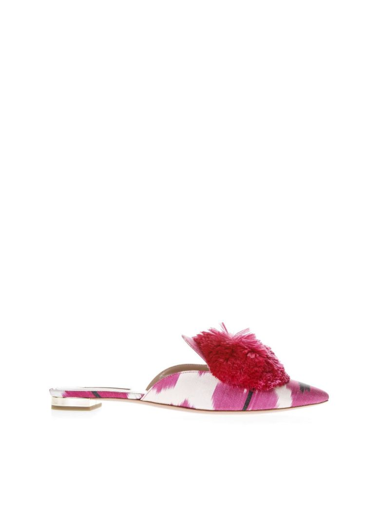 Fuxia Satin Slipper With Puff Detail