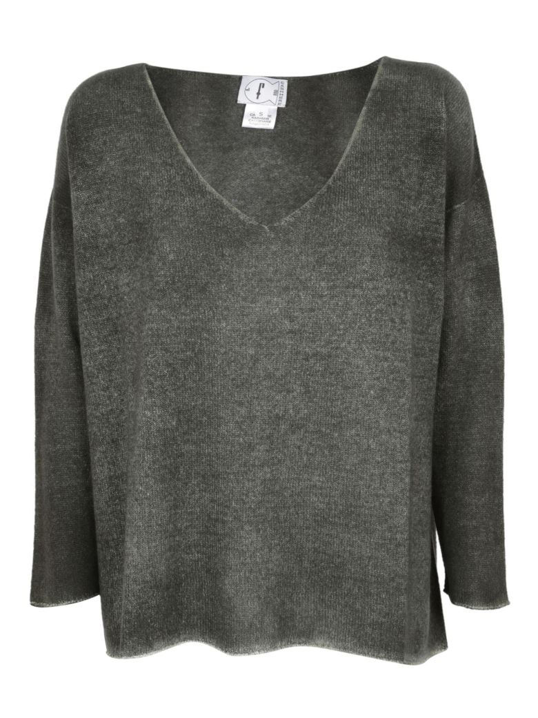 F CASHMERE F Cashmere V-Neck Sweater in Military