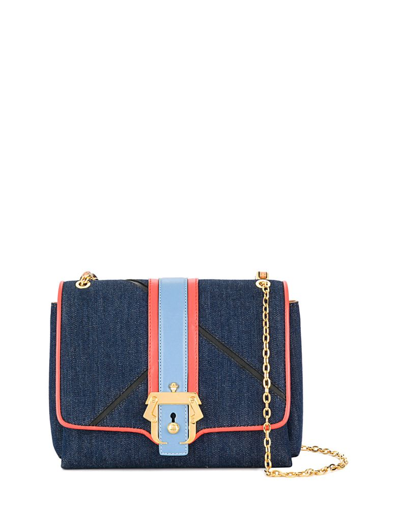 Paula Cademartori ALICE BOHO DENIM AND LEATHER SHOULDER BAG