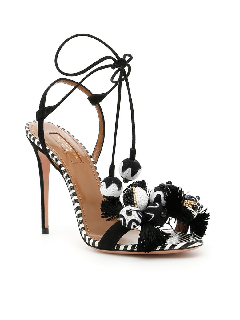 Tropicana Sandals - IT38.5 / Black Aquazzura 8eJJG01r