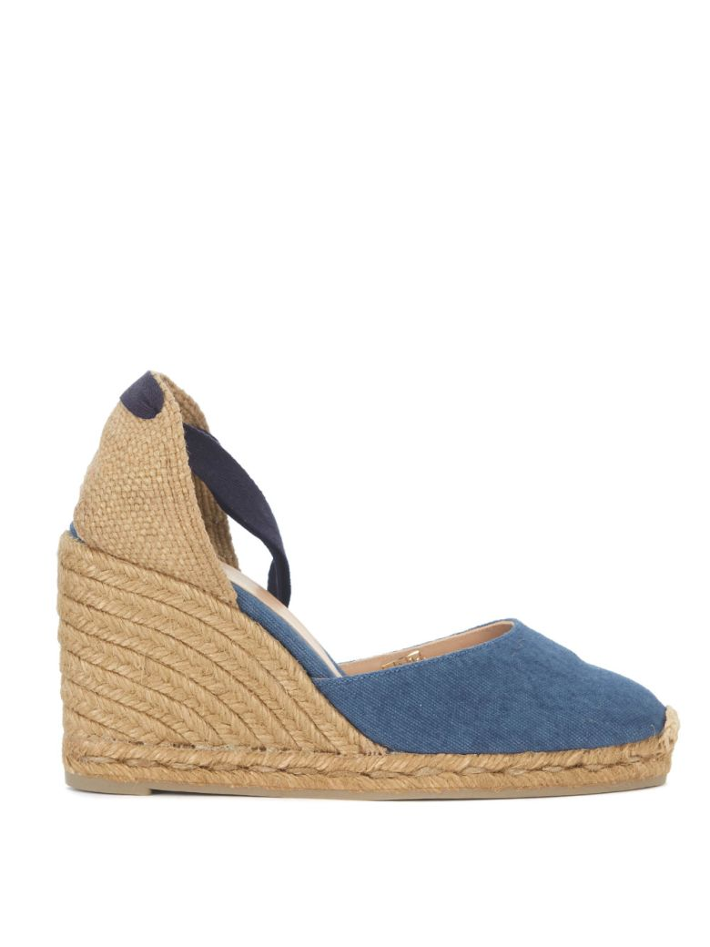 CARINA NATURAL JUTE AND BLUE WASHED FABRIC WEDGE SANDAL