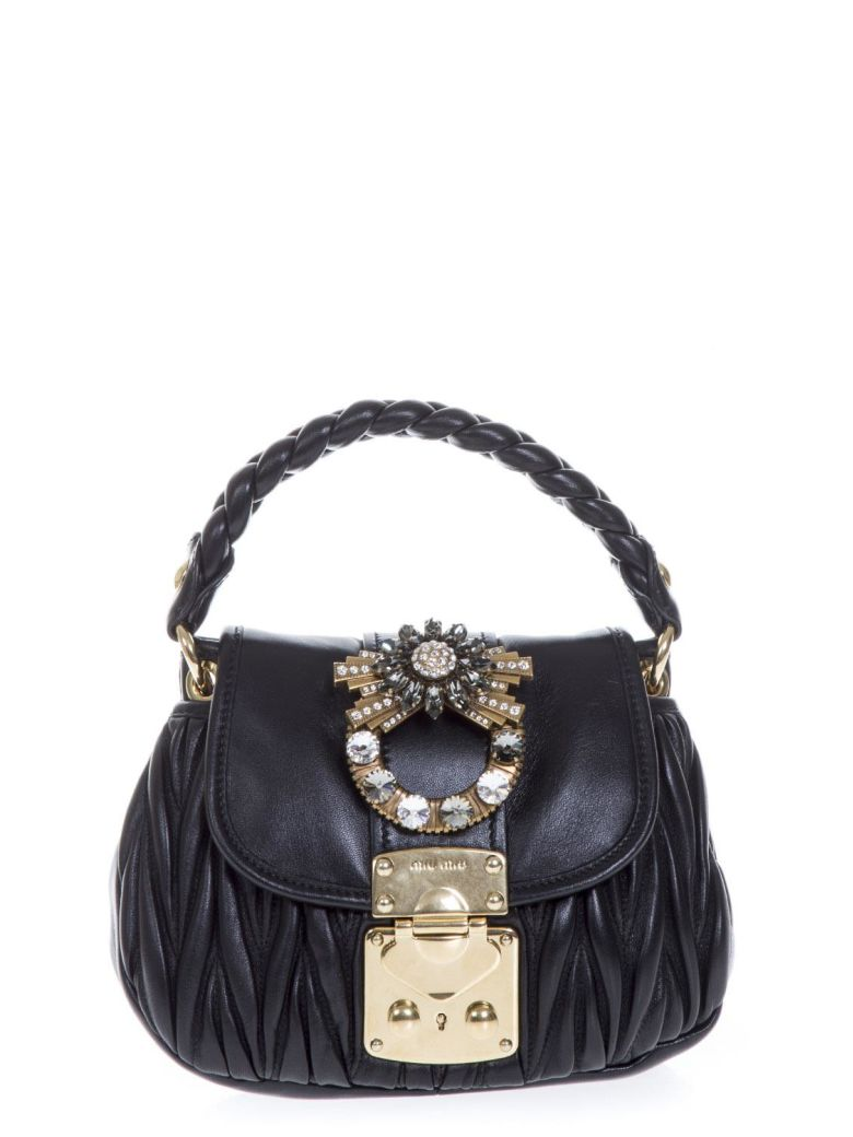 EMBELLISHED BLACK LEATHER HAND BAG