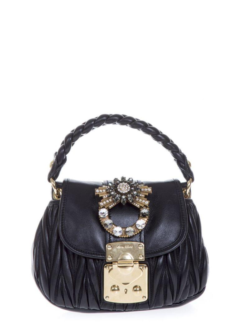 EMBELLISHED BLACK LEATHER HAND BAG