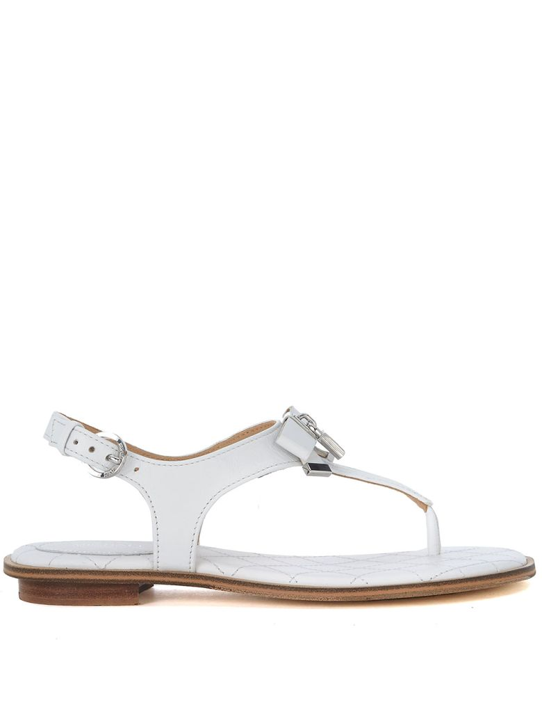 ALICE WHITE LEATHER SANDAL WITH BOW AND PENDANT