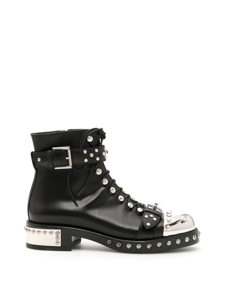 Stud-Embellished Leather Ankle Boots in Black