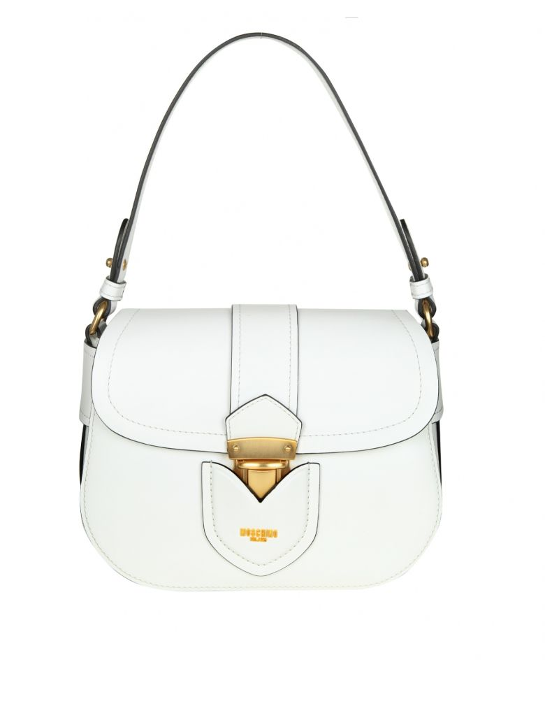 SHOULDER BAG IN LEATHER WITH LOGO COLOR WHITE