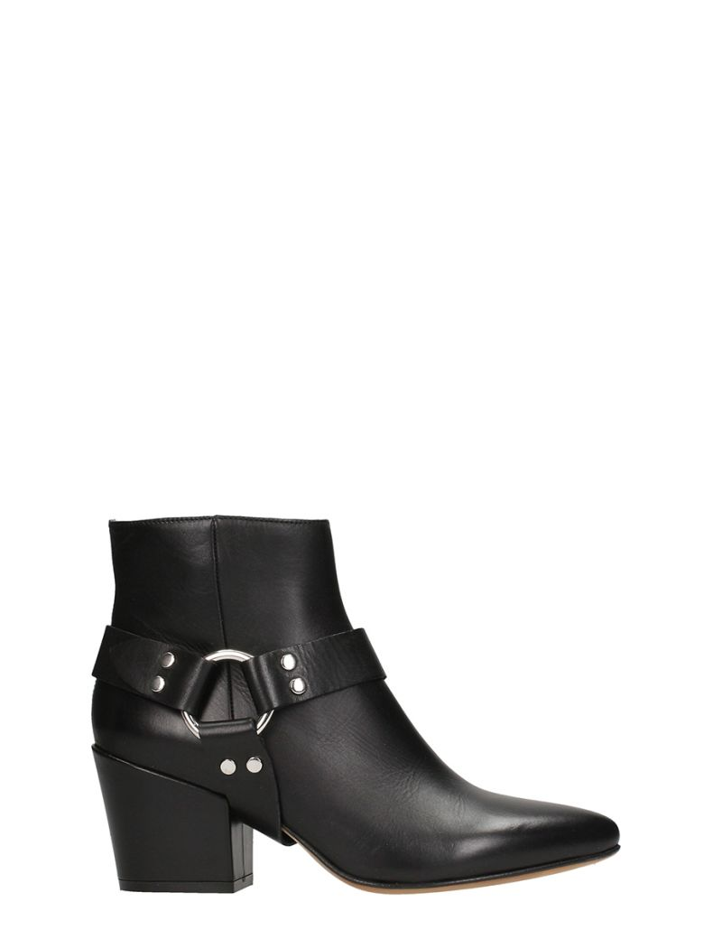 BUTTERO BLACK SHINY LEATHER ANKLE BOOT
