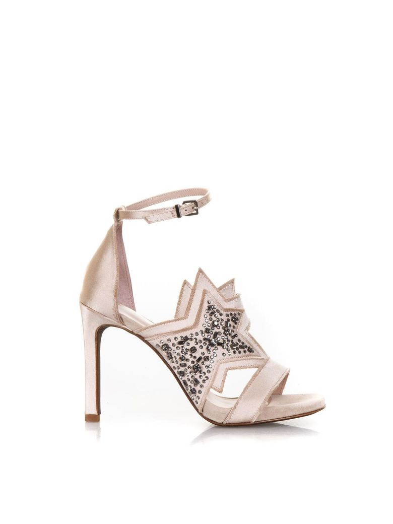 LOLA CRUZ PINK SATIN SANDALS WITH GLITTERED STAR DETAIL