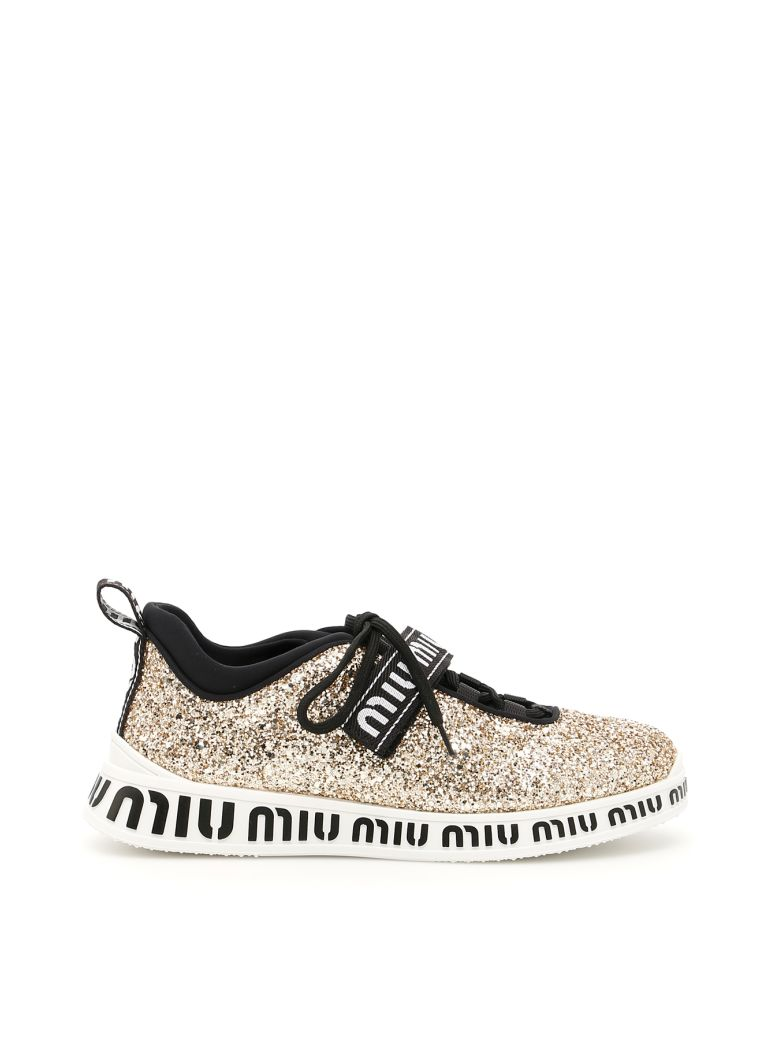 Glitter-embellished neoprene trainers