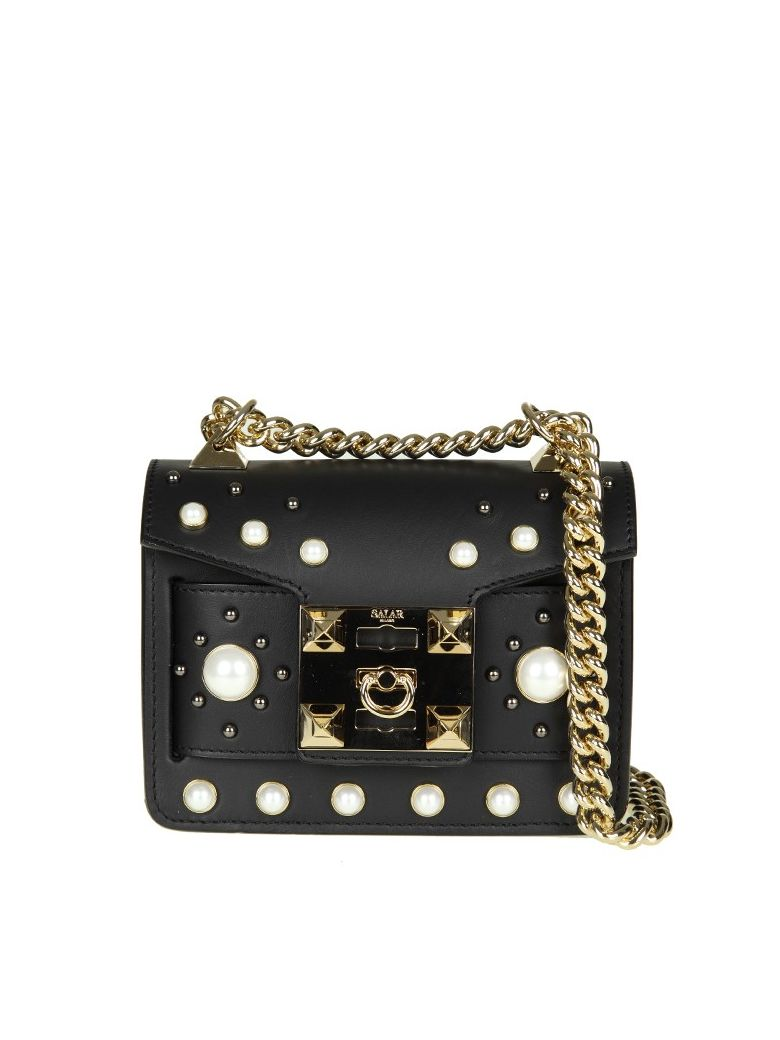 Salar MILA PEARL BAG IN BLACK LEATHER