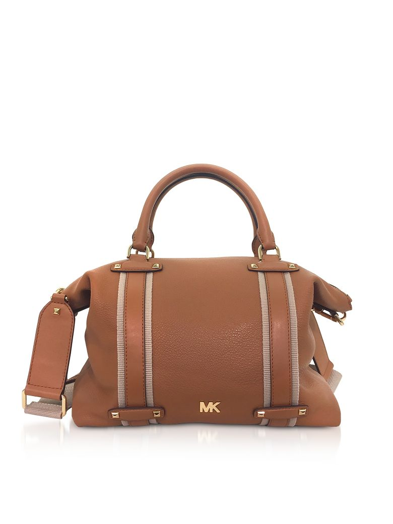 Pebbled Leather Griffin Large Satchel in Acorn