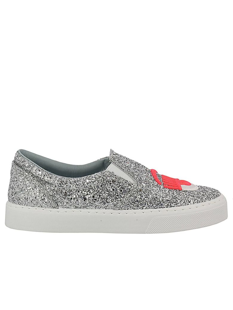 SNEAKERS CHIARA FERRAGNI SLIP ON SHOES GLITTER WITH MAXI EMBROIDERY FLUO EYES FLIRTING