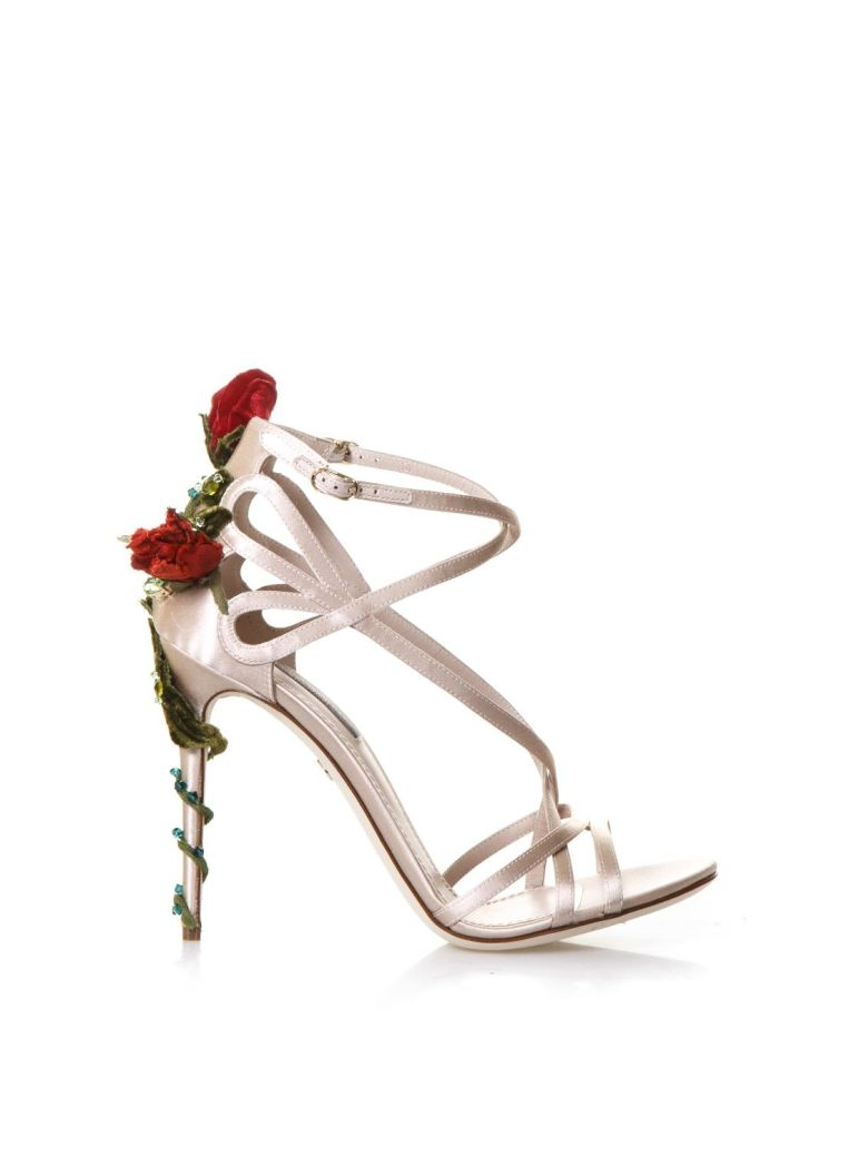Dolce & Gabbana Keira Roses On Silk Satin Sandals - Nude