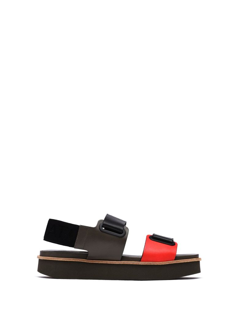 VIC MATIE SANDAL WITH RED AND MILITARY GREEN VELCRO