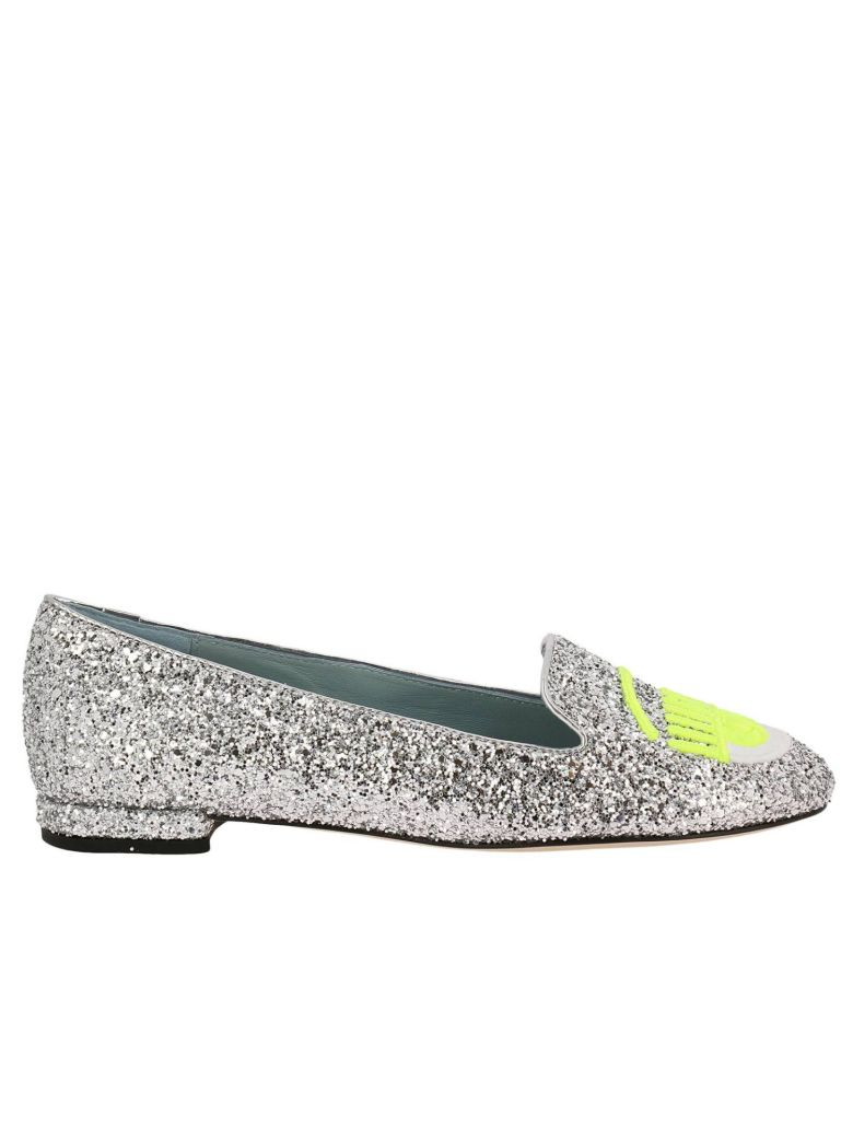 BALLET FLATS CHIARA FERRAGNI LOAFERS LOGOMANIA WITH ROUND TOE MAXI EMBROIDERY OF FLUO EYES FLIRTING