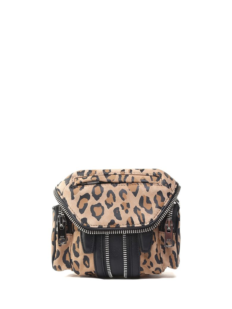 MARTI NANO LEO-PRINT SUEDE AND LEATHER CROSS-BODY BAG