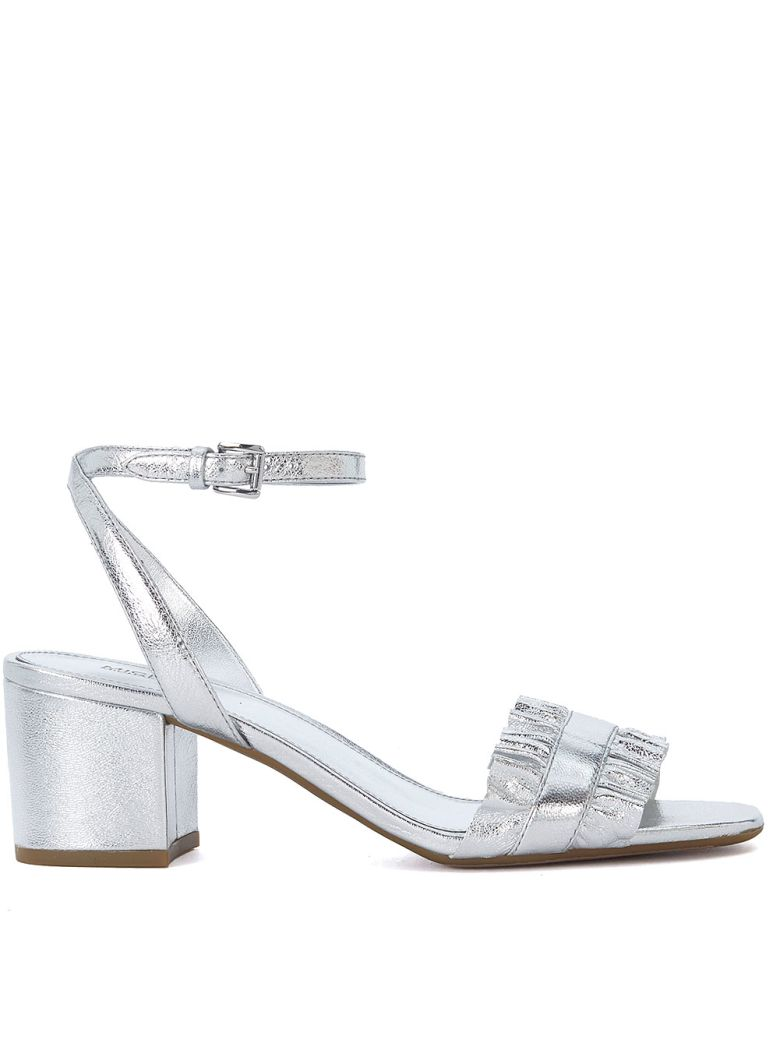 BELLA SILVER LEATHER SANDAL WITH RUFFLE