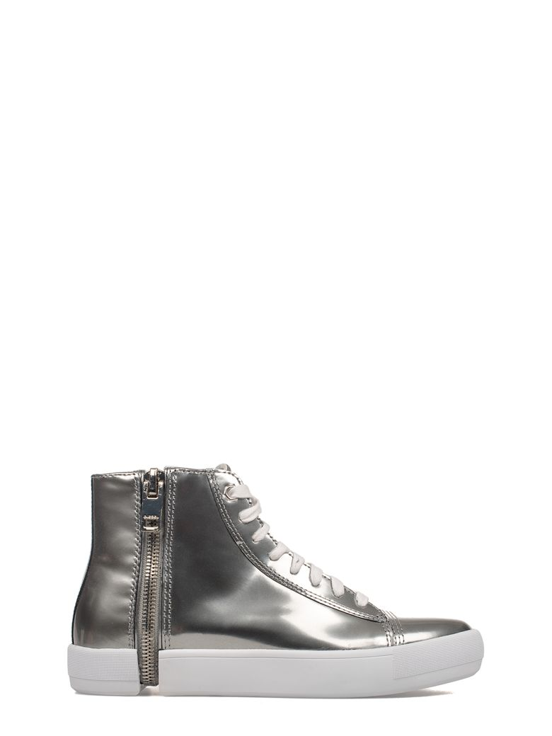 Silver Nentish Brushed Leather High-Top Sneakers, Gray
