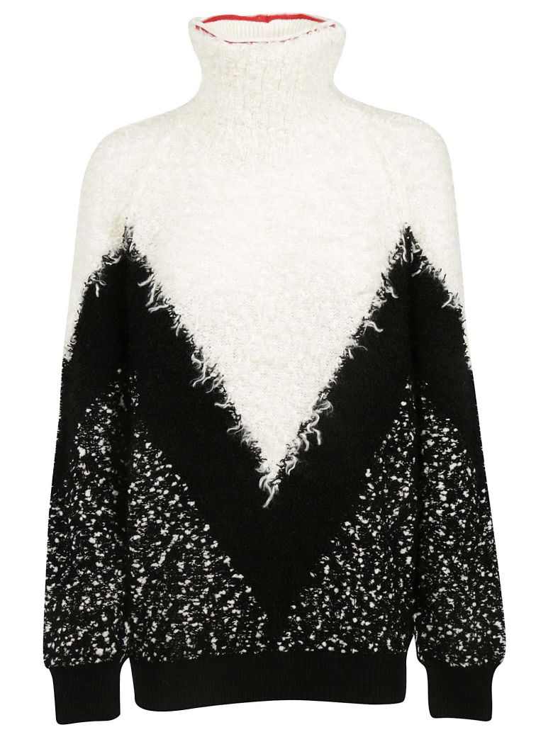 Oversized Mohair-Blend Bouclé Turtleneck Sweater, Black Grey White from Al Duca d'Aosta