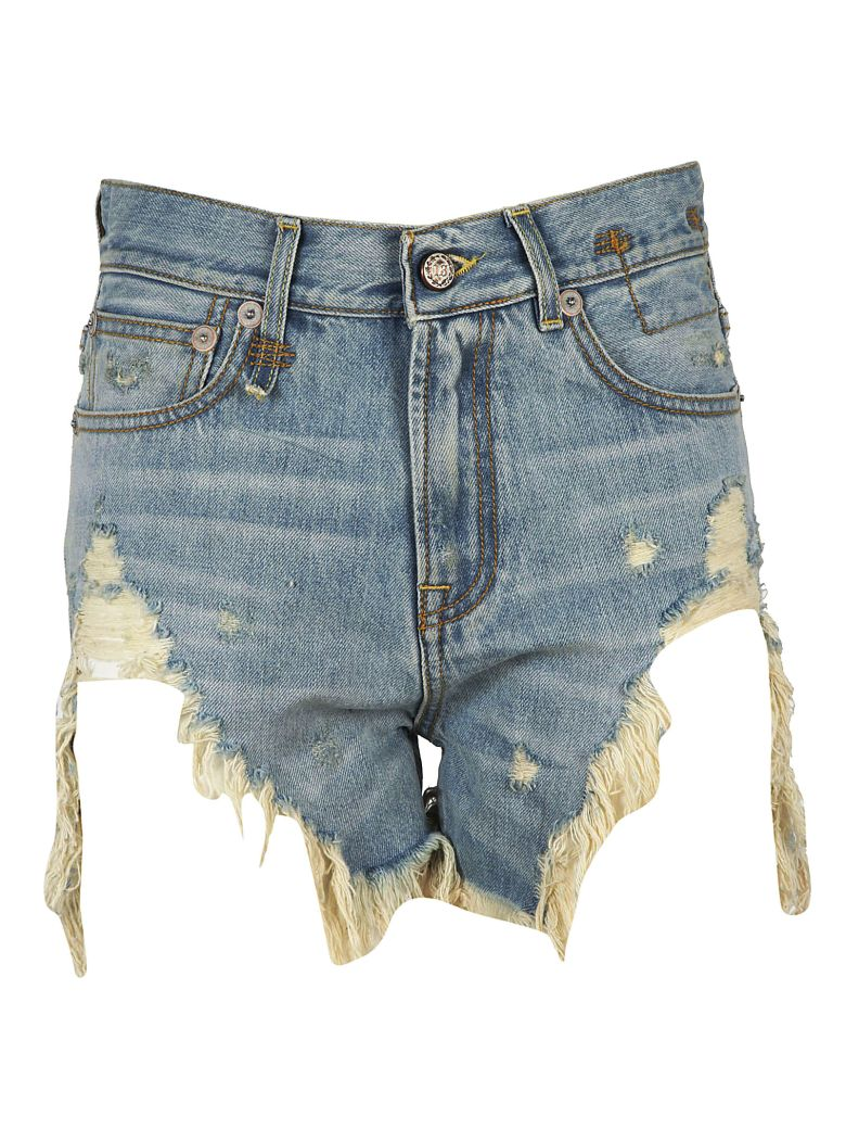 RIPPED EFFECT DENIM SHORTS