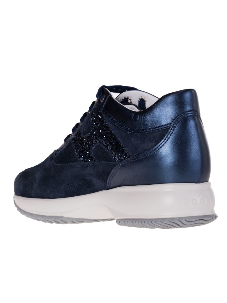 Glitter Detail Sneakers - IT35.5 / Blue Hogan