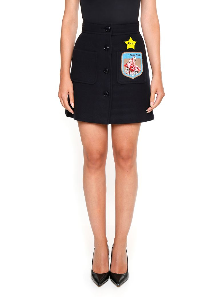 WOOL SKIRT WITH PATCH