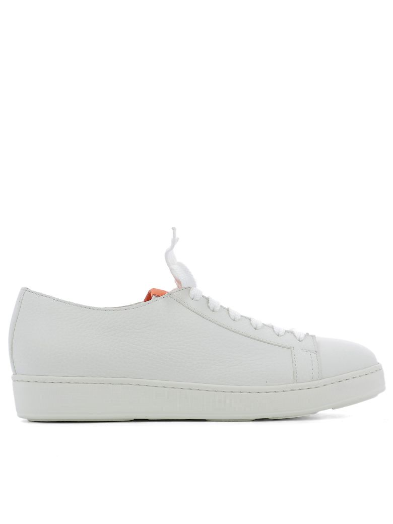 Santoni  WHITE LEATHER SNEAKERS